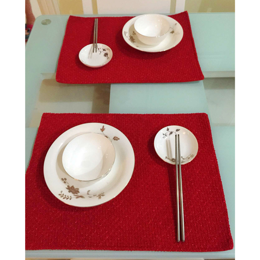 Dining table mats - 2 Pcs Lot Fashion Christmas Placemat For Dining Table Green Red Table Mats