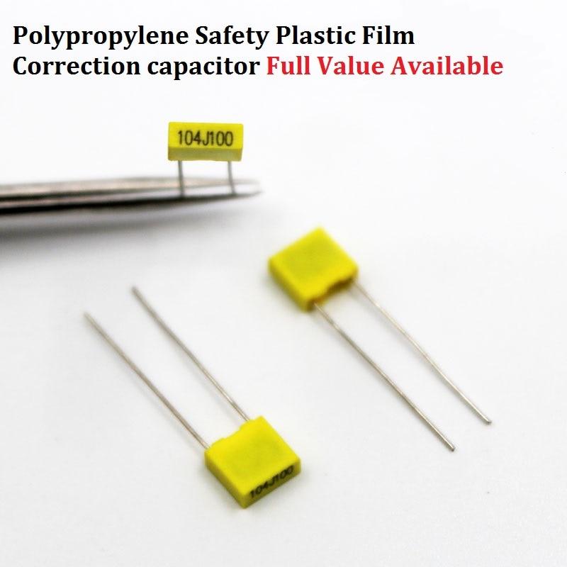 20PCS Polypropylene Film Correction Capacitor 100V 154J/224J/334J/474J/225J 63V 153J/124J/105J 0.15/0.22/0.33/0.47/2.2/1UF/15NF
