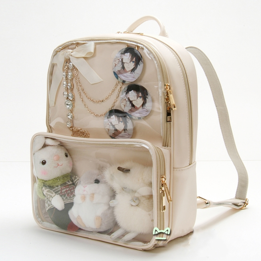 Kawaii Clear Transparent Itabag Women Backpacks Harajuku PVC Jelly Candy Color Student Schoolbags Book Bag For Teenager Girls PU