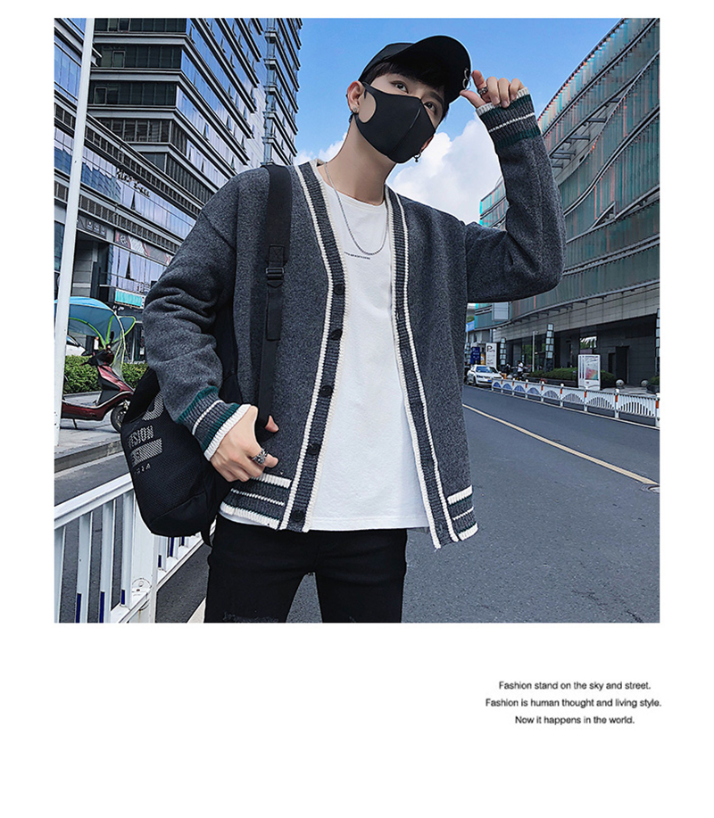 Check Button Cardigan Male Oversize Loose Streetwear (11)