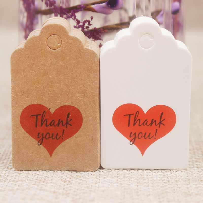 200 pc/lote Diy Etiqueta de regalo hecha a mano con corazón rojo gracias galletas/artesanías/panadería decoración etiqueta 5 * etiqueta de boda de 3 cm