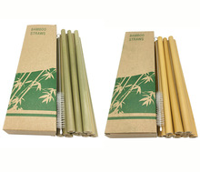Useful 12pcs/set Bamboo Drinking Straws Reusable Eco-Friendly Party Coffee Cocktail Kitchen with Clean Brush