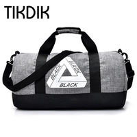 Unisex Duffle Bag Men Autumn Bags Cylindrical Canvas Bag Black Gray Military Hand Pocket Versatile Folding