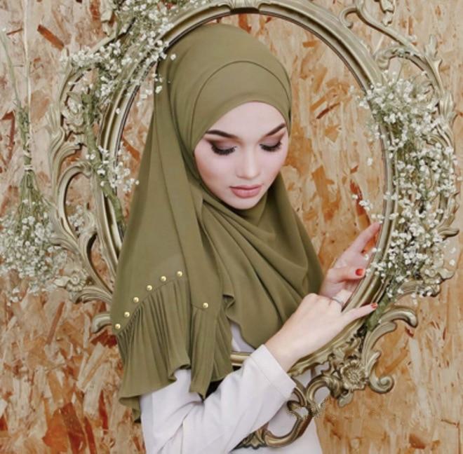Image 5 - 23 color bubble chiffon peals scarf scarves pleated plain shawls  women solid muslim Hijab essencial headband foulard new designWomens  Scarves