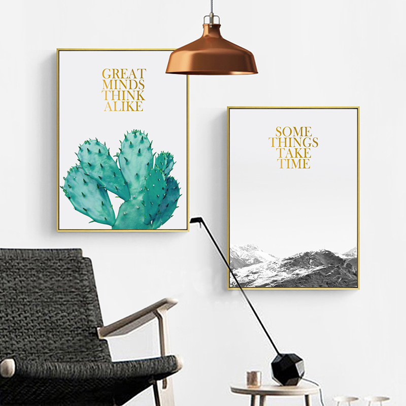 Modern Minimalist Landscape Pictures Cactus Peak A4 Canvas Painting Print Poster Picture Wall Art Bedroom Home Decorative in Painting Calligraphy from Home Garden