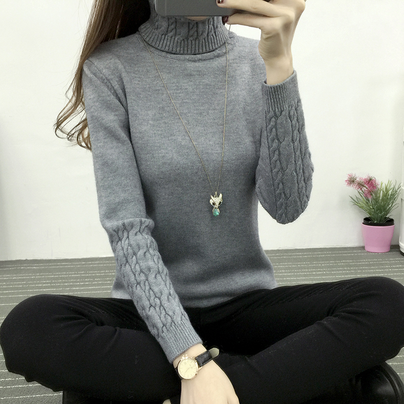 Women Knitted Sweater Pullover 2018 Autumn Winter Turtleneck Tricots Tops Women Knitwear Female Knitted Twist Sweater Coat LY099 Price $41.59