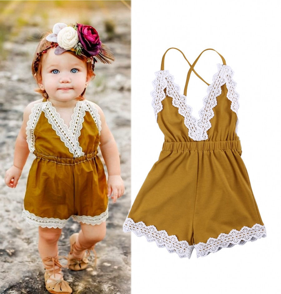 Newborn Baby Girls Halter   Romper   One-pieces Jumpsuit Sunsuit Lace Outfit Yellow Clothes 0-24M