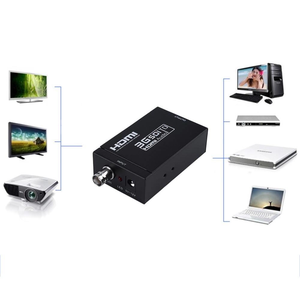 Factory direct sales Mini 3G 1080P HDMI to SDI SD-SDI HD-SDI 3G-SDI HD Video Converter With Power Adapter In Retail package mini 3g 1080p hdmi to sdi sd sdi hd sdi 3g sdi hd video converter with power adapter in retail package free shipping