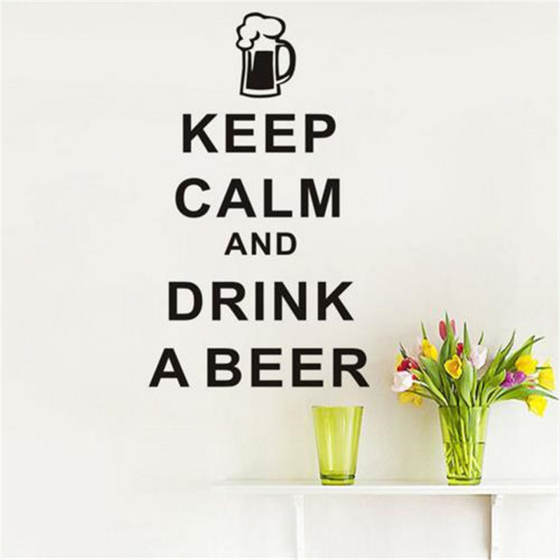 Keep Calm And Drink A Beer English Art Wall Sticker Vinyl Removable DIY Home Decor Dining Room For Kitchen Wall Wallpaper