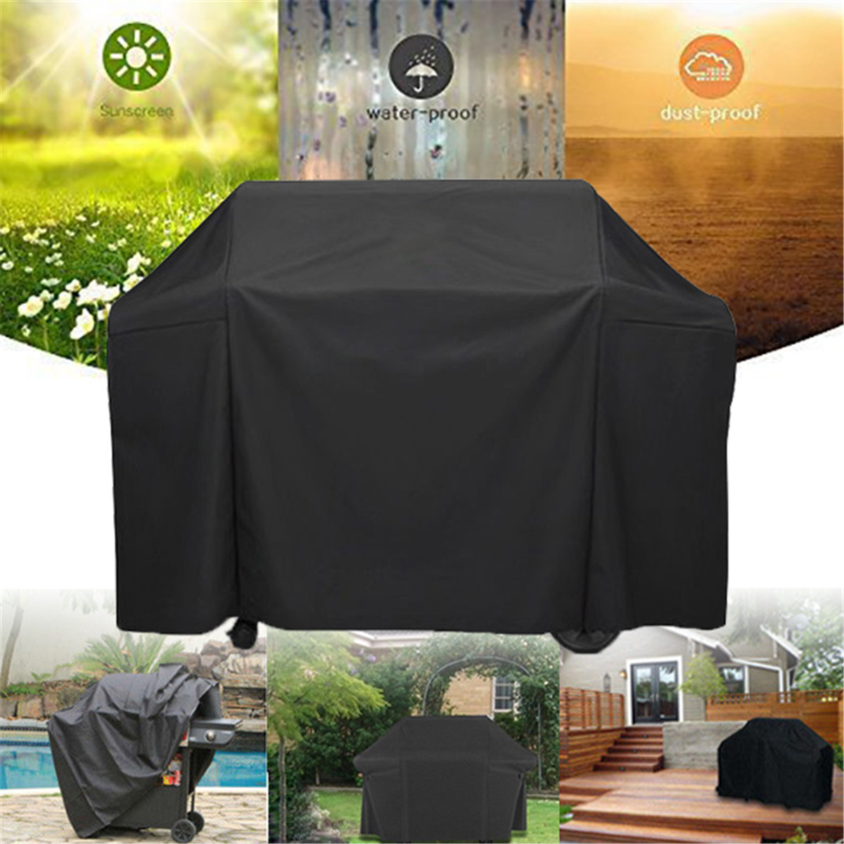 Polyester Barbeque BBQ Grill Cover with Storage Bag for Weber 7131 Genesis II Gas Grills Black Camping BBQ Tools AccessoriesPolyester Barbeque BBQ Grill Cover with Storage Bag for Weber 7131 Genesis II Gas Grills Black Camping BBQ Tools Accessories