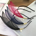 De gama alta de Moda Único Ala Pétalos de Gasa de Punto de la Onda Diadema de Perlas De Imitación Diadema Accesorios Para el Cabello Horquilla Tocado Femenino