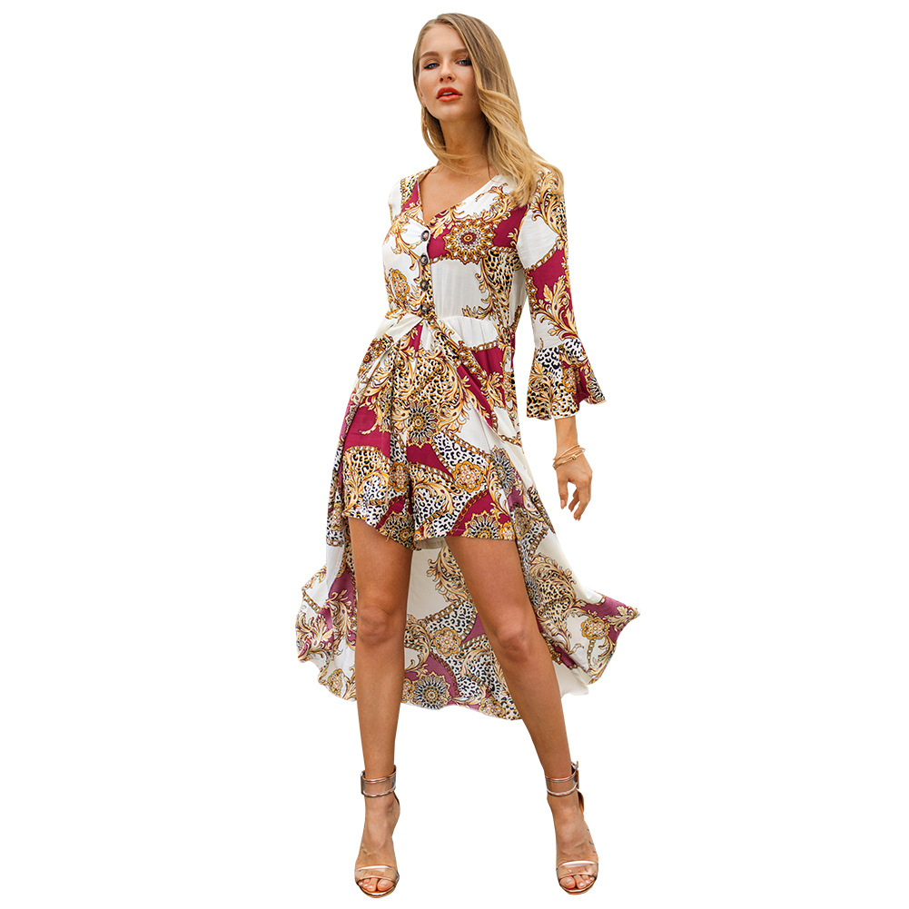 2019 New Spring Female Wear Top Pants Retro Floral Printed Fashion Long Sleeve Short  European and American Holiday Style