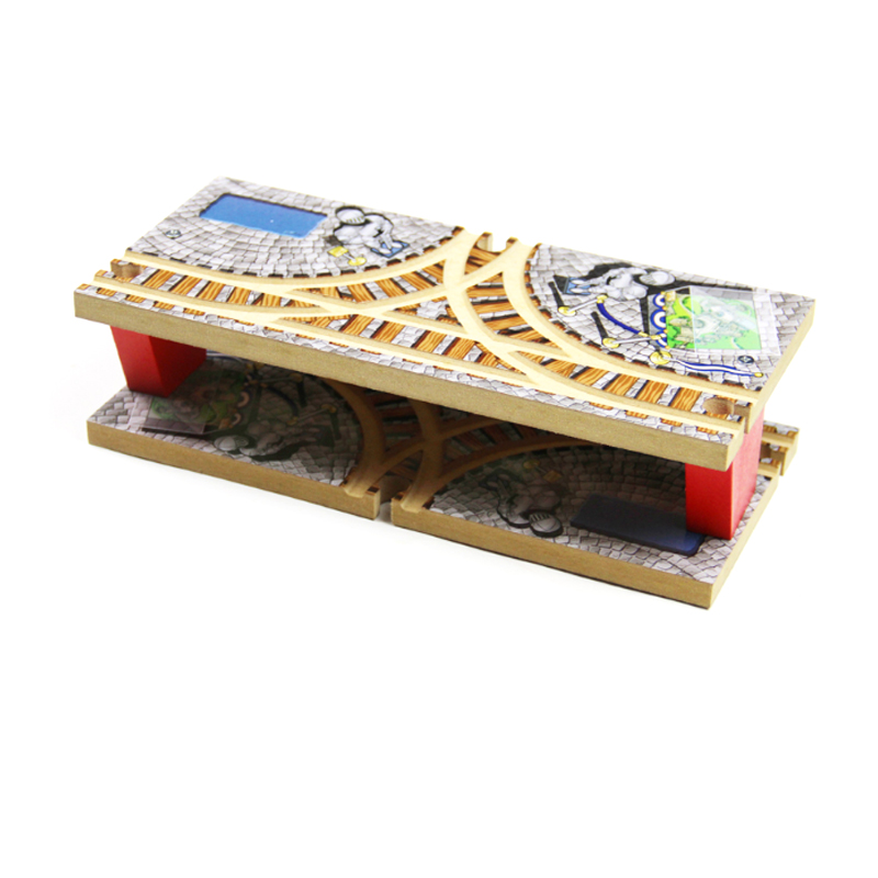 P165 Wooden Train Track Blocks Bulk Accessories Transit Hub Double T-Rail Station Compatible with Solid Wood Train Thomas Track