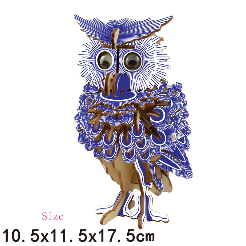 Puzzles & Games Just Diy 3d Assembled Laser Cutting Wooden Eagle/owl/unicorns Puzzle Game Gift For Children Kid Model Building Animal Kit Popular Toy