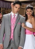 2016 Hot Custom Made Argento Risvolto Tacca Smoking (Jacket + Pants + Vest + Tie) Wedding Vestito Nuziale Indossare Abiti sposo Spedizione Gratuita