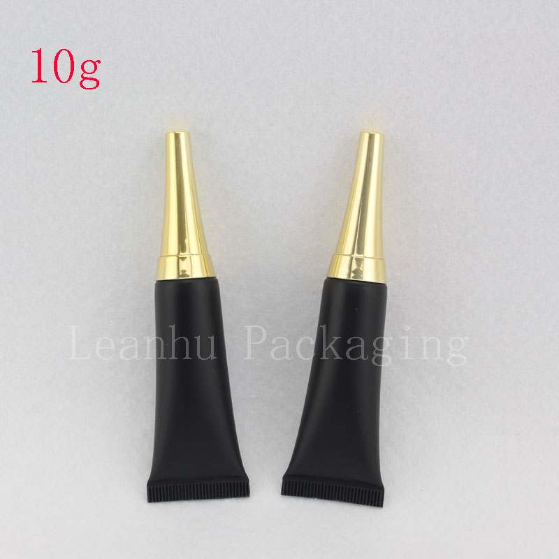 10ML Empty Eye Cream Cosmetic Tubes Black Squeeze Soft Container Gold Screw Lid Unguent Bottle Black