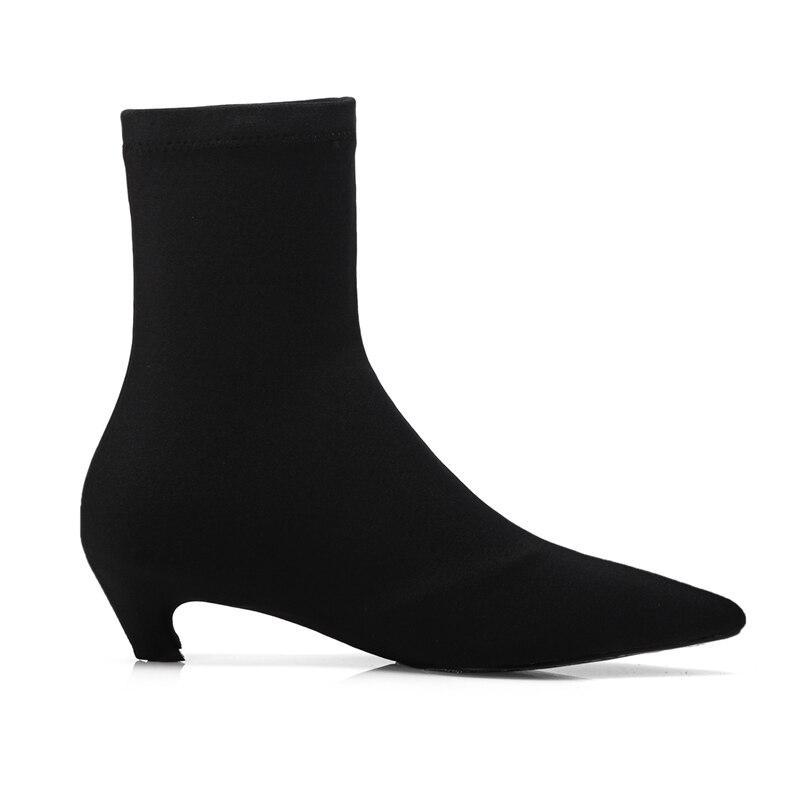 Mujer Bottes Bottines Slip Botas Size34 sur Enmayer 40 Pointu D'hiver Macvise Invierno Bout 2018 Zyl1650 Black EDH2W9IY