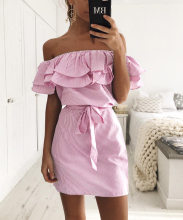 Off Shoulder Strapless Striped Ruffles Dress Women 2018 Summer Sundresses Beach Casual Shirt Short Mini Party Dresses Robe Femme(China)