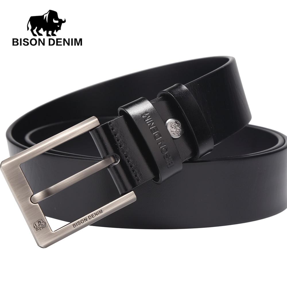 BISON DENIM Brown black Belt men Prom dress accessories Cowboy Genuine Leather...