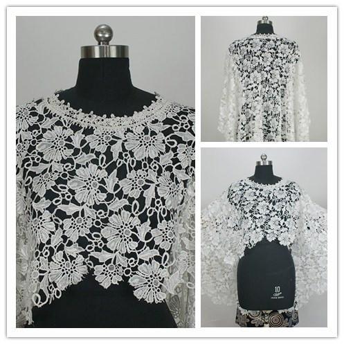 O pescoço ou jaquetas De noiva De casamento Bolero De Renda bege 2015 De uma peça sem mangas importado China