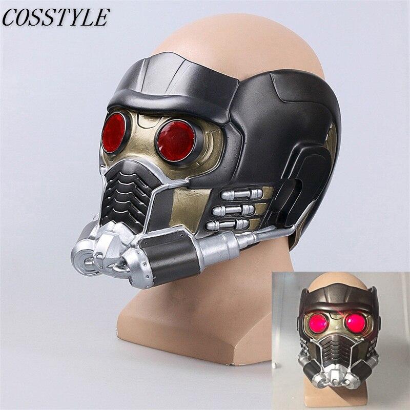 Nouveaux gardiens de la galaxie Star-Lord Cosplay casque avec lumières oeil Halloween fête PVC masque Avengers Infinity War Cosplay masque