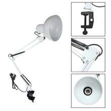 EU/US Plug Flessibile Forcellone Morsetto di Montaggio lampada da Ufficio Lampada da Studio Casa E27/E26 Bianco Da Tavolo Desk Lamp di lettura luce AC85 265V Mentale + ABS