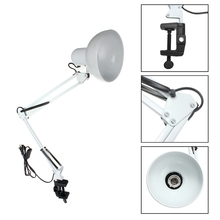 Luminária de braço oscilante flexível eu/us, montagem de braço, lâmpada para escritório, estúdio, casa, e27/e26, mesa branca, leitura luz AC85 265V ambientes + abs