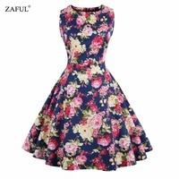 Zaful Retro PinUp Tutu Dresses Hepburn 50s 60s Style Rockabilly Robe Floral Print Dress Women