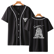 LUCKYFRIDAYF Kpop SEVENTEEN Harajuku Baseball T-shirt Women Fashion Autumn Skull Hip Hop Short Tshirt Clothes 4XL