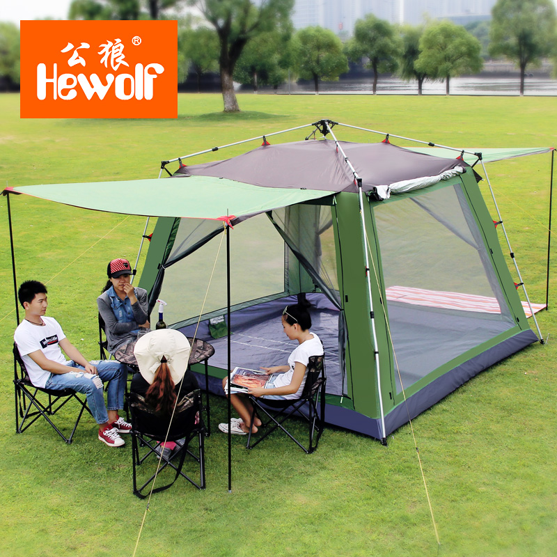 цена на Hewolf Outdoor Tent Huge 5-8 Person Aluminum Pole Automatic Quick Open Leisure Park Hiking Fishing Beach Family Camping Tents