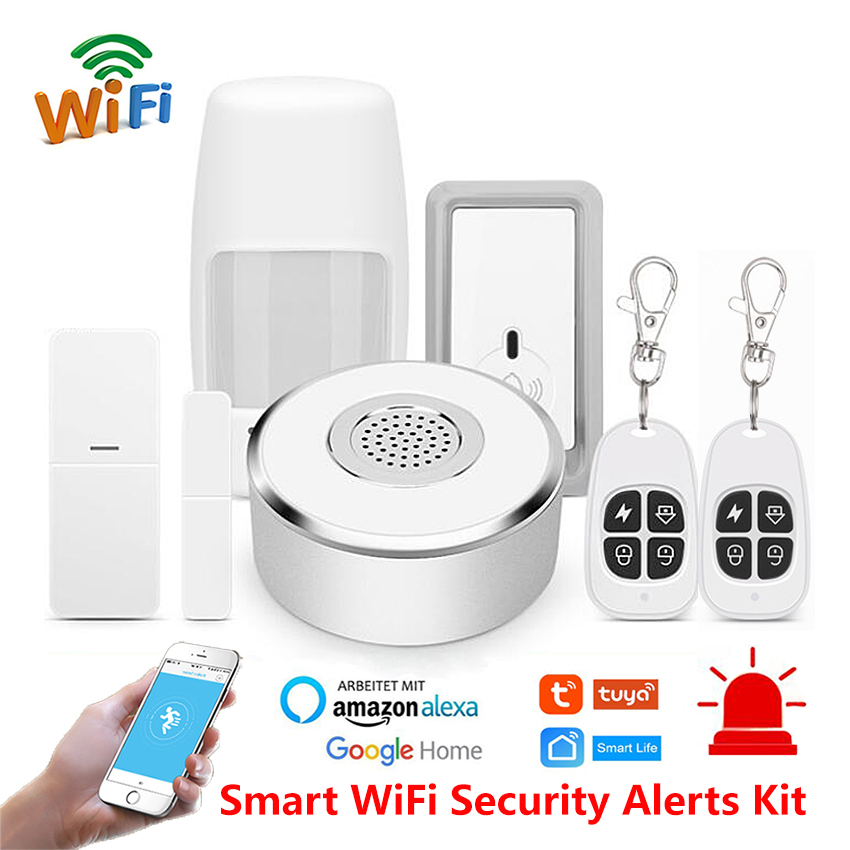 Smart Life Home WiFi Security Alarm Kit Gateway Hub Door Window Sensor PIR Detector Automation Home Security System Alexa Google