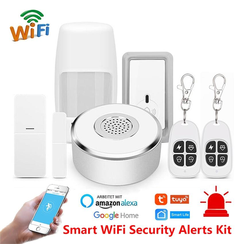 Smart Life Home WiFi Security Alarm Kit Gateway Hub Door Window Sensor PIR Detector Automation Home Security System Alexa Google