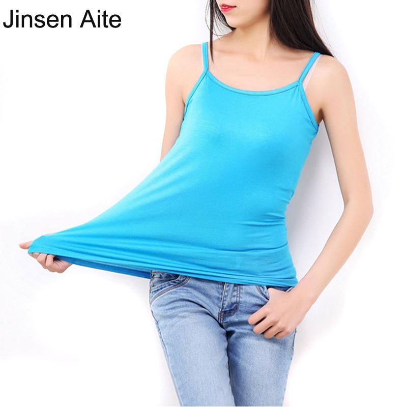 Jinsen Aite L-6XL plusz méretű női felsők Camisole szabadidős tartályok divat klasszikus póló szilárd rugalmasság pamut modal Camis JS370