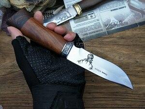 Image 5 - Couteau de chasse tactique rétro, petits couteaux fixes, tête en cuivre + manche en bois massif, couteau de survie, couteau de sauvetage portatif, de Camping
