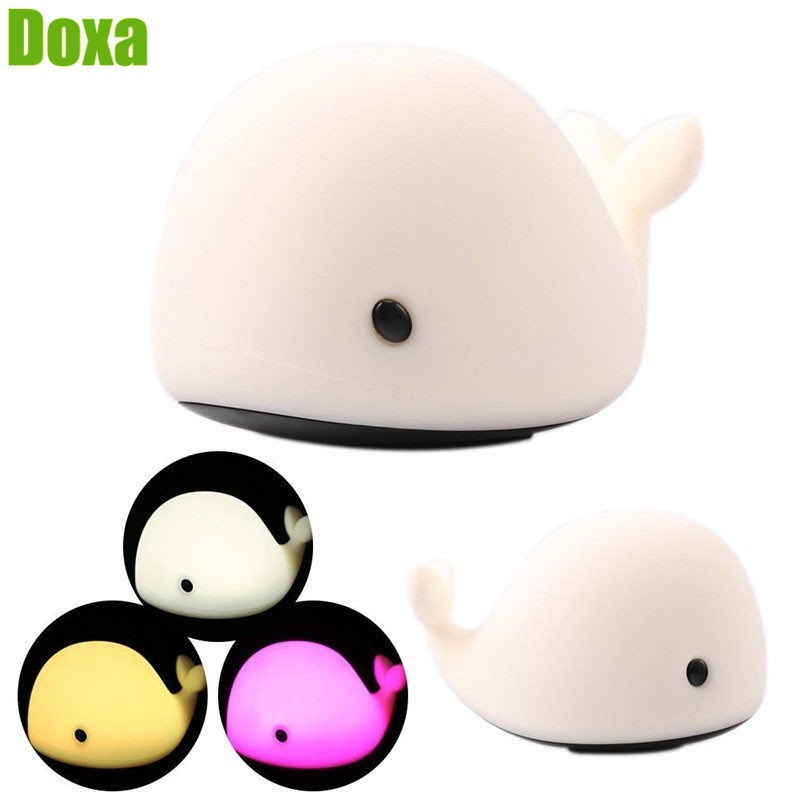 Doxa 1PC Whale Dolphin LED Night Light USB Rechargeable Motion Sensor Touch Control Baby Night Lamp Silicone Kids Toy Lights