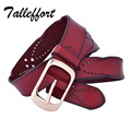 Tallefffort 2016 designer belts for women high quality genuine leather woman belt Cowskin pin buckle women belt