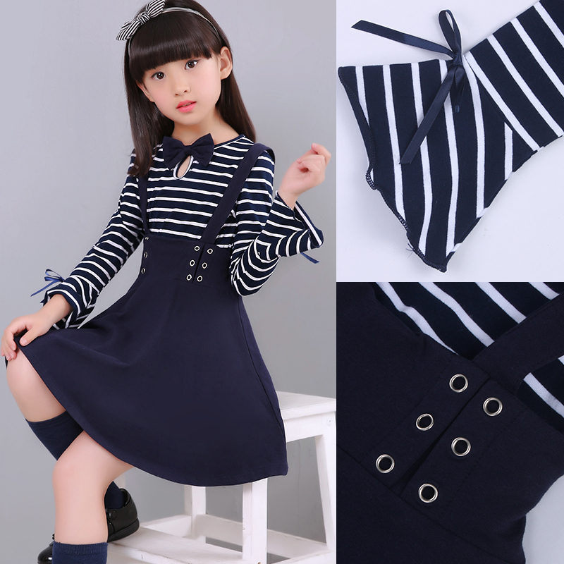 flare cuff a line dressese girl children princess clothing kids navy stripe long sleeve brushed and