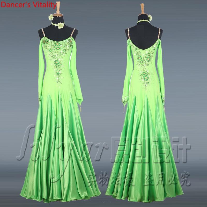 Long sleeve Back Dance Competition Dresses Custom Women Ballroom Dance Skirt Modern Flamenco Waltz embroidered Dance