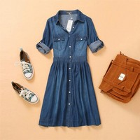 2015 European And American Thin Section Blue Pearl Buckle Sleeve Dress Sleeve Denim Shirt Solid Color