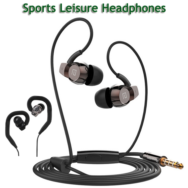 2015Headphones Heavy Bass Running Sport Earphone With Microphone 3.5mm In-ear Headset with Hook for iPhone Samsung LG Huawei etc