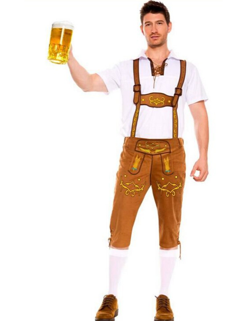 MOONIGHT 2 Color Men Oktoberfest Costumes German Beer Cosplay Bavarian Octoberfest Festival Party Clothes Halloween Costumes 1