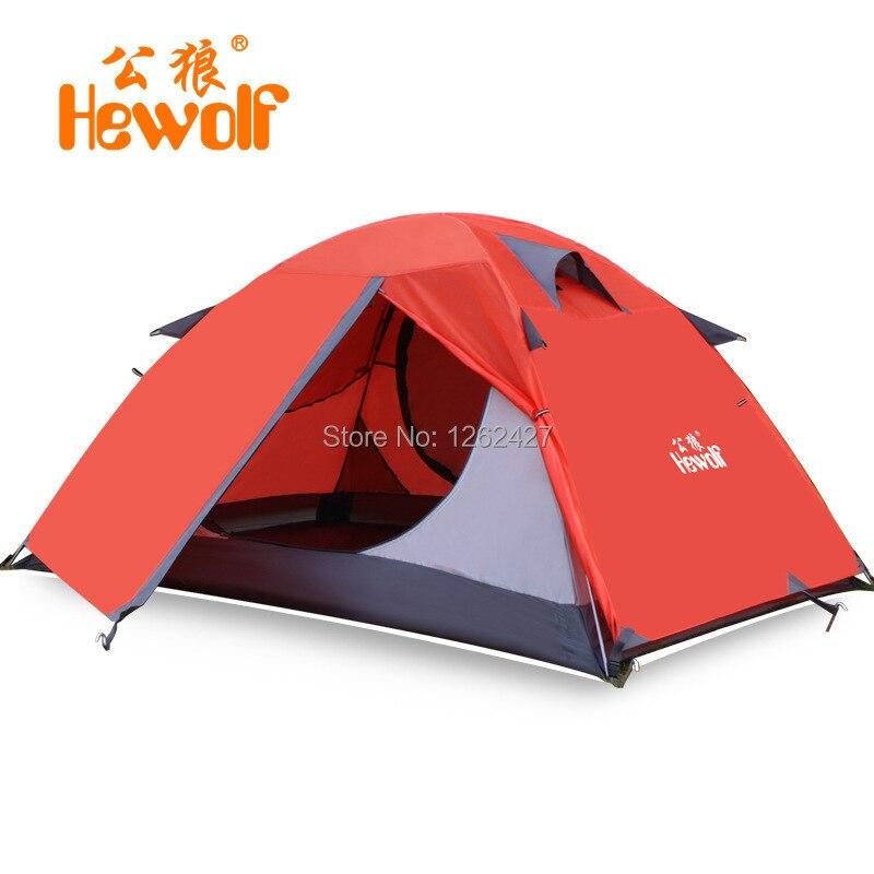 Hewolf nouveau Style tige en aluminium de haute qualité Double couche 2 personnes imperméable ultra-léger Camping tente tente de plage en plein air