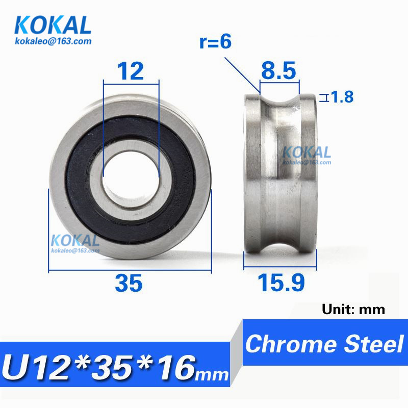 12*35*15.9mm Grooved Double Roller Guide Deep Groove ball Bearing LFR5201-10