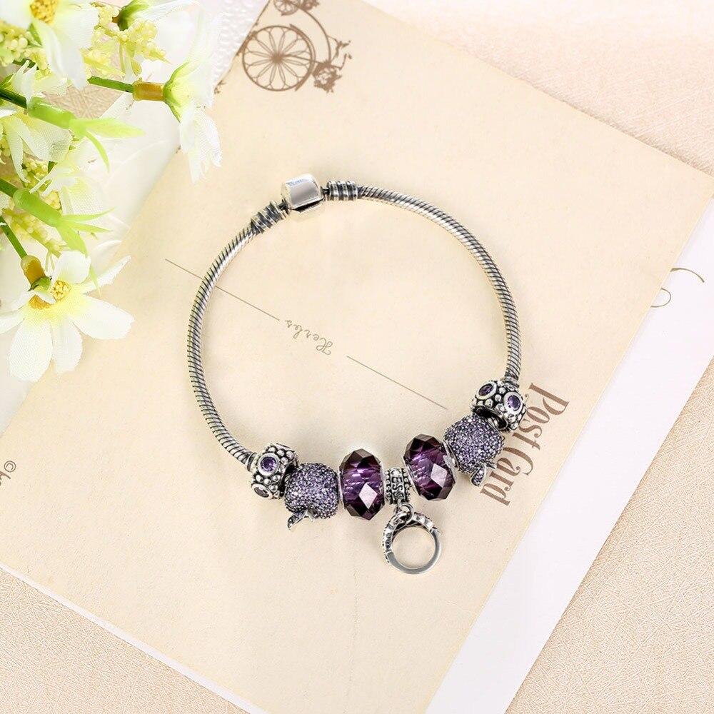 925 браслеты стерлингового серебра для женщин высокое качество, поступления 2016 г. Jewelry Винтаж Стекло бусина, жесткий Браслет Fit Браслет Femme - 4