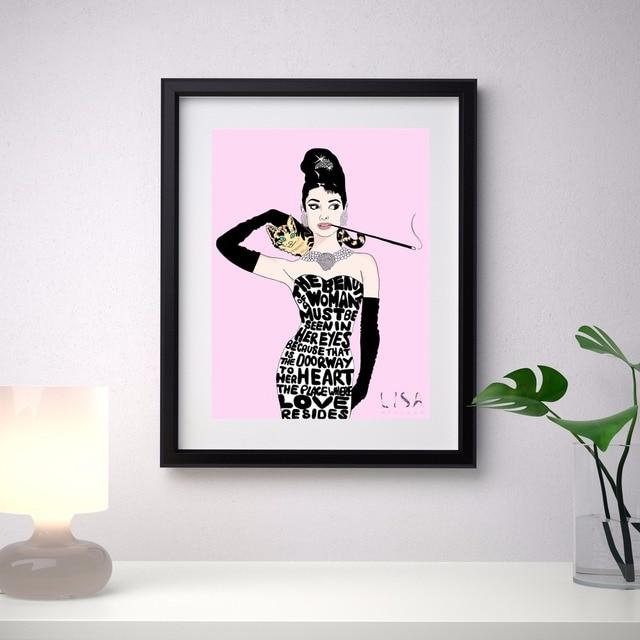 Audrey Hepburn Vintage Leinwand Kunstdruck Malerei Poster