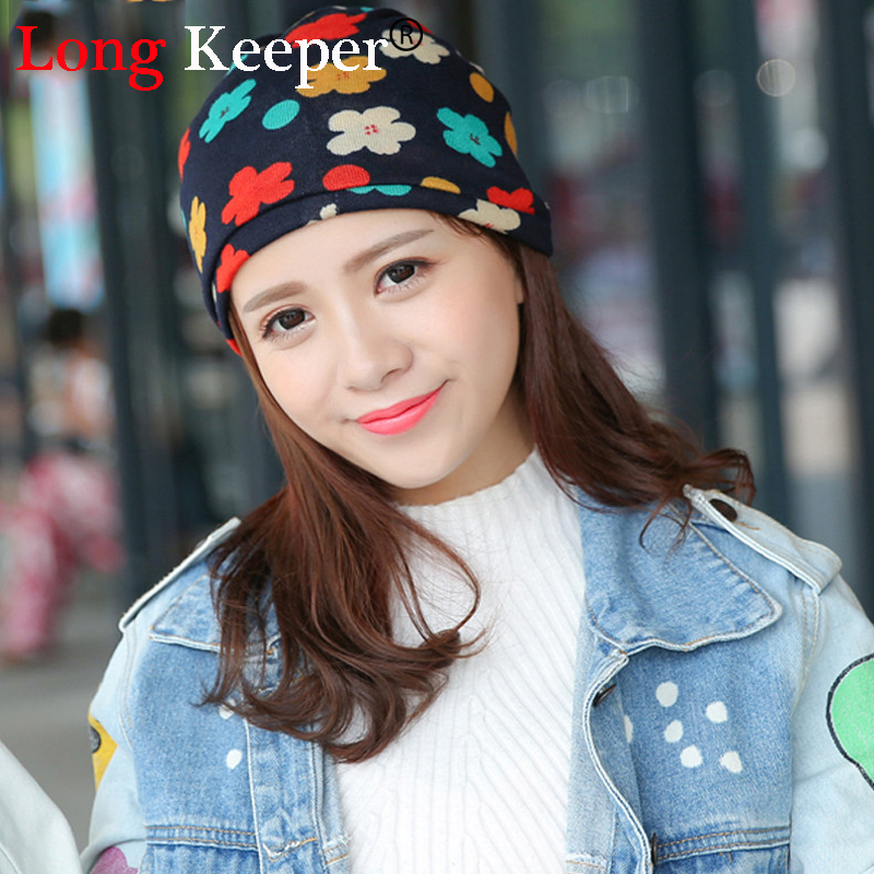 Long Keeper 2016 Hot Print Women's Hat Scarf & Hat Stripped Hip-Hop Beanie Spring&Autumn Snapback Cap Women Circle Beanie hot 2016 spring