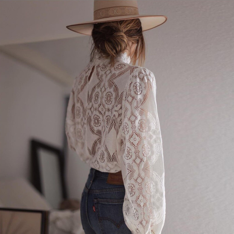 Sexy White Lace Tops And Blouses Elegant Embroidery Long Sleeve Hollow Out Blouse Summer Transparent Top Female in Blouses amp Shirts from Women 39 s Clothing