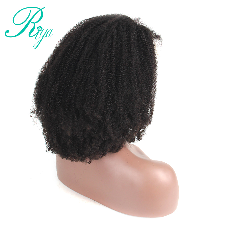 Afro Kinky Curly Lace Front Wig With Baby Hair Mongolian Virgin Short Human Hair Wigs With Baby Hair Bleached Knots Riya Hair  by Riya