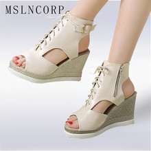 size 34-43 New Fashion wedges high heels women sandals platform slingback casual Lace Up woman summer peep toe female lady shoes стоимость