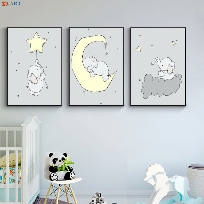 Us 3 68 38 Off Elephant Moon And Stars Nursery Print Poster Canvas Painting Pale Yellow Gray Kids Wall Decor Baby Room Decoration Picture In